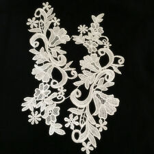 1 Pair Vintage Polyester  Lace Trim Applique Wedding Bridal Dress Sewing DIY21