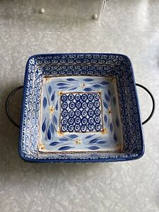 Temptations Old World Blue Square 9.5in Baking Dish w Rack New