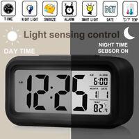 Batterie Réveil Numérique Affichage LCD Rétroéclairage Calendrier Snooze Neuf