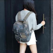 Womens Travel multi pocket Denim backpack Bags Retro Frayed Rucksac satchel 55