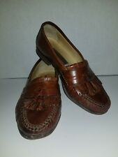 Johnston Murphy Mens Italian Tassel Kilt Loafers Size 8M Brown Leather Shoes
