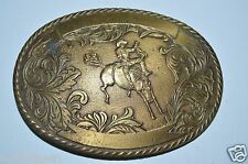 Vintage Western Rodeo Award Bucking Bronco Brass Belt Buckle RARE Engraveable