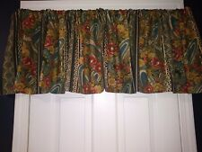 Croscill Tailored Valance Blouson REMINI Floral Green Gold Coral 17x88 NEW
