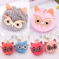 Soft Plush Owl Big Eyes Women Bag Hanging Fluffy Pom Ball Keyring Key Chain