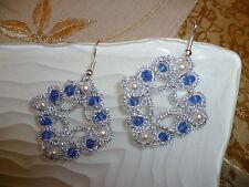 orecchini donna argento chiacchierino uncinetto  con swarovski blu fatti a mano