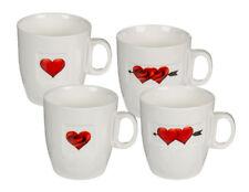 4 Tassen Herz mit Rose 8x7,5 cm Kaffee Tee Becher Kaffeebecher New Bone China