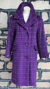 1950's Coat, lama, purple checked, Made in England by 'Feminex' size 18