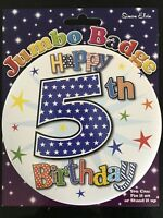 Boys 5th Birthday GIANT BADGE * Star Design * Birthday Party * Hook on clip