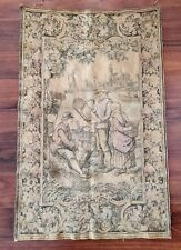 "Stunning Large 40"" Tapestry Village Figural Scene European France French, Marked"