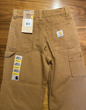 Carhartt Boys Dungaree Pants Brown Size 10 25x24 Straight Utility Cargo $65 835