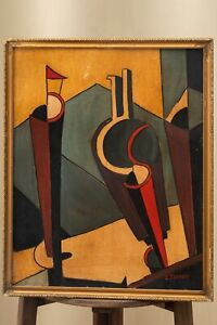 Lajos TIHANYI (1885-1938) SIGNED Old Oil Painting Post Neo impressionism Cubism