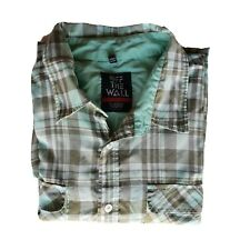 Vans Men's Green Check Short Sleeve Shirt Size L Button Up Organic Cotton