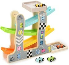 Wooden Race Track Car Racer Ramp Toy For 1-2 Year Boy