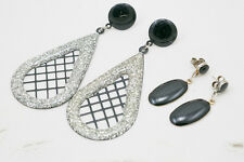 2 coppie di orecchini nero e argento degli anni 80 x foro black silver