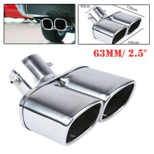 """63mm/2.5"""" Stainless Chrome Car Dual Exhaust Tip Square Tail Pipe Muffler Silver"""