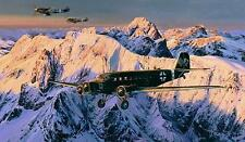 Robert Taylor print, Special Duties, autographed by 4 Ju52 aircrew and 2 aces