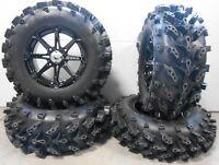 """MSA Black Diesel 14"""" ATV Wheels 28"""" Swamp Lite Tires Kawasaki Brute Force IRS"""