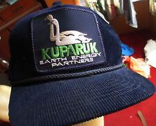 True Vtg 80s Kuparuk Swans Graphic Blue Corduroy trucker Skater Cap