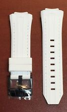 Authentic TechnoMarine White Silicone Strap with Stitching & Black Buckle 45mm
