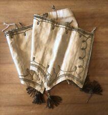 Rare Long Antique Silk Beaded Church Pelmet With Presumed Gold Tassels 28x110cm