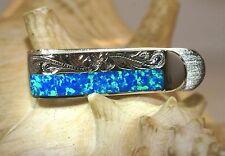 12mm Hawaiian Solid 925 Silver Inlaid BlueGreen Opal Engraved Scrolls Money Clip