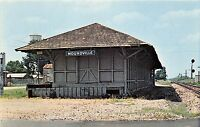 B12/ Moundville Alabama AL Postcard Chrome Railroad Depot c1970s