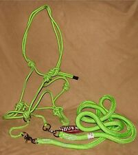 Showman Western Horse LIME Nylon Rope Bitless Bridle & Reins - New Horse Tack