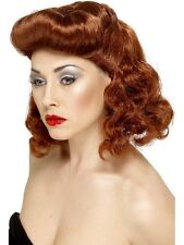 AUBURN 1940s 40s PIN UP Vintage WIG with Curls Fancy Dress Accessories 42223