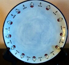 KIC Brushes Handpainted Nautical Theme Salad Plates Blue Anchors Sailboats x1