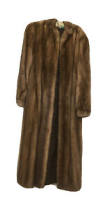 Vintage Harrods Canada  Mink Full Coat 12 14 Light Brown Fitted Cuffs Stunning