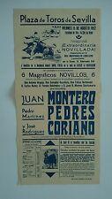 1952 Cartel Plaza de Toros Sevilla Juan Montero Pedro Pedrés José Coriano