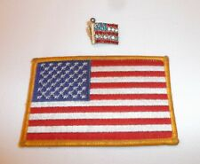 American Flag 1 iron on patch, 1 jeweled flag pin 4th of July