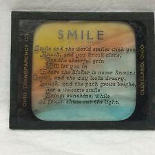 Vintage Magic Lantern Slide from Ohio Transparency Company Smile Poem Cleveland