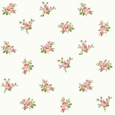 Dollhouse Miniature Shabby Chic Wallpaper Pink on White Floral Flowers 1:12