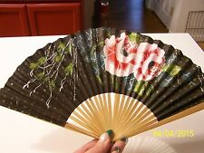 Vintage Hand Painted Flowers on Black Hand Folding Fan