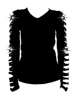 New Bling Bling Long Sleeve Rhinestones T-Shirt with Cut Out Ripped Top S~3X