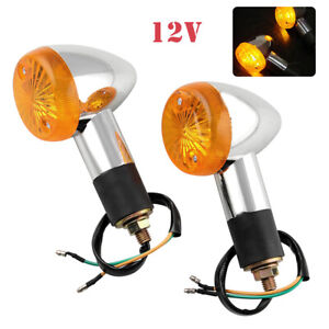 2x Bullet Motorcycle Turn Signal Light Indicators Blinker Amber Yellow Universal