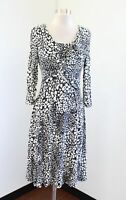 Lafayette 148 Black Off White Cheetah Print Spotted Gathered Knit Dress Size S