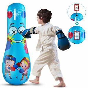 Kids Junior Boxing Punch Bag Set Inflatable Boxing Punch Bag Free Standing Gift