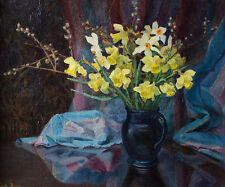 BEAUTIFUL ORIGINAL EDITH BRUCE OIL PAINTING, STILL LIFE OF DAFFODILS, SIGNED