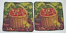 Lot 2 Strawberry Needlepoint Pillow Covers Case Handmade Wool Velvet Primitive