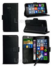 Sony Xperia Z5 Dual SIM - Carbon Fibre Effect Wallet Case Cover & Retractable