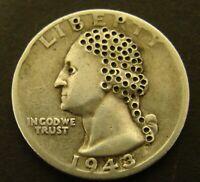 HOBO SILVER QUARTER 1943 Washington 90% Silver   Unique  25c COIN
