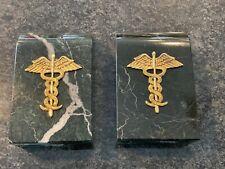 Marble & Brass Caduceus Bookends Medical School Physician