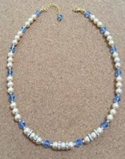 COSTUME Glass Pearl And Vintage Blue Glass Bead Necklace Max 21 1/4 Inches