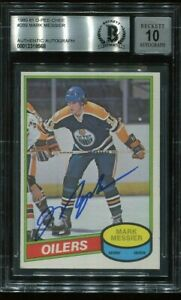 HOF MARK MESSIER signed autographed 1980-81 OPC ROOKIE CARD RC BECKETT (BAS) 10