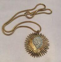 Vintage Gold Tone Sun Burst Crystal Necklace