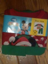 NWT TODDLER DISNEY MICKEY MOUSE SOFT FLANNEL PAJAMAS CHRISTMAS RED GREEN WARM 3T