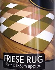 Friese Curved Green White Beige Square Style Runner Rug Mat Dirt Stopper