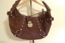 Guess Suede Leather Handbag Purse Large Hobo Chocolate Brown Versatile